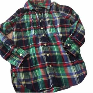 Girls 3/3T Ralph Lauren Button Down Plaid Top